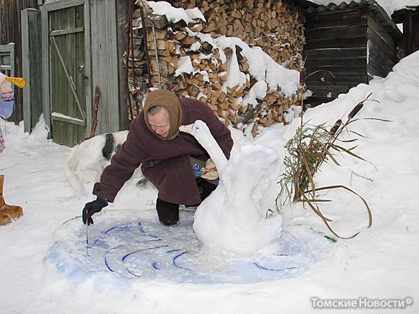 снежные фигуры фото своими руками